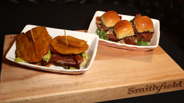 BLT Jibarito with Chipotle Mayo and Mojo Pulled Pork and Bacon Sliders by Ingrid Hoffmann for Smithfield