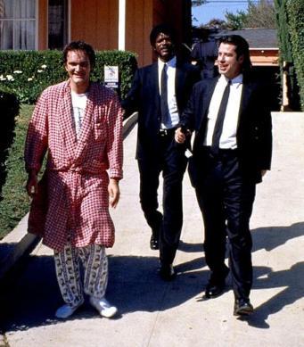 Pulp Fiction (Šund, 1994): Quentin Tarantino, Samuel L. Jackson in John Travolta