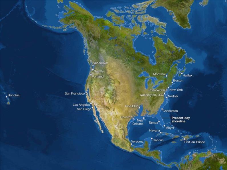 Kako bi bila videti Zemlja, če bi se ves led stalil: Severna Amerika