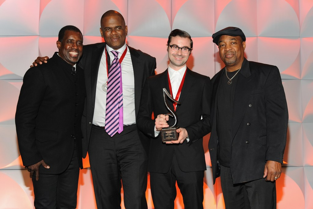 NEW YORK, NY - MAY 04: (L-R) Trevor Gale, Jon Platt, James Napier and Chuck D attend 2015 SESAC Pop Music Awards at New York Public Library on May 4, 2015 in New York City.  (Photo by Shawn Ehlers/Getty Images for SESAC) *** Local Caption *** Trevor Gale, Jon Platt, James Napier;Chuck D