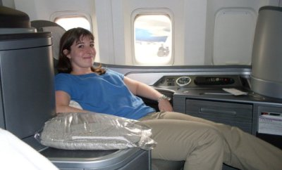 Keri enjoying International First Class on United