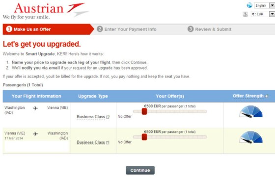 Austrian Airlines Smart Upgrade Bidding Form