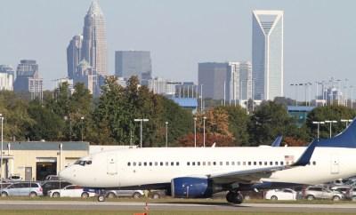 Charlotte Airport Skyline Plane