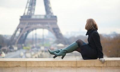 Paris France Eiffel Tower Woman on Bridge