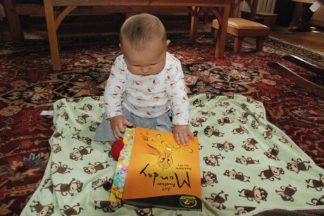 Asher looking at the book