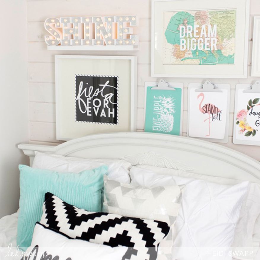 @heidiswapp bedroom gallery wall with Marquee Lights and clipboards