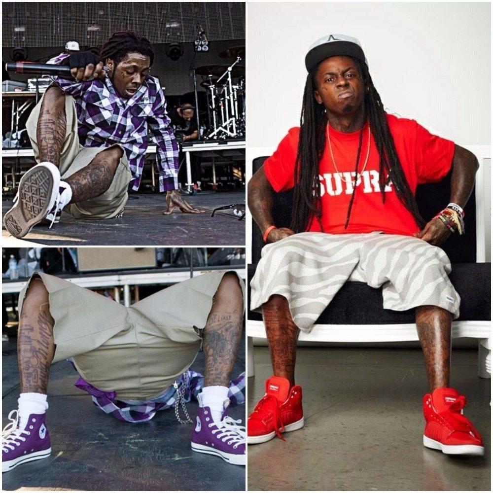 Lil Wayne's tattoos leggss