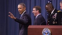 Φωτογραφία Αρχείου: US President Barack Obama waves after delivering remarks after meeting with members of his national security team concerning ISIS at the Pentagon in Arlington, Virginia. EPA/Drew Angerer / POOL