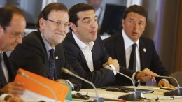 ΦΩΤΟΓΡΑΦΙΑ ΑΡΧΕΙΟΥ: French President Francois Hollande, Spanish Prime Minister Mariano Rajoy, Greek Prime Minister Alexis Tsipras and Italian Prime Minister Matteo Renzi during the Eurozone summit at the EU council headquarters in Brussels, Belgium, 07 July 2015. Eurozone member states are waiting for Greek proposals in order to discuss a new aid programme for Greece. The country is rapidly running out of money after the European part of Greece's latest bailout expired June 30 after no agreement was reached for more aid between Greece and its international creditors. EPA/OLIVIER HOSLET