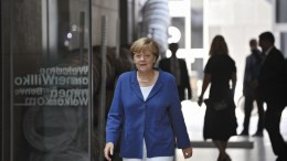 A handout picture made available on 16 August 2015 by German public broadcaster ZDF of German Chancellor Angela Merkel arriving for the traditional summer interview in Berlin, Germany, 16 August 2015. Merkel gave the traditional interview upon her return from summer vacations with Greece and migrant crisis likely to top the interview's agenda. PHOTO: JUERGEN DETMERS/ZDF EPA/JUERGEN DETMERS/ZDF