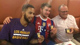 A photograph released with permission via Twitter user @FLeturque of two US citizens, Anthony Sadler (L) Alek Skarlatos (C) and British man Chris Norman (R), after being awarded the medal of the city of Arras the day after they apprehended the suspect of the shooting on a Thalys train at Arras train station in Arras, northern France, 22 August 2015. A man opened fire on a high-speed Thalys train travelling to Paris from Amsterdam leaving at least two people injured, French officials said. The man was arrested at a station in the northern French town of Arras, according to a statement by the Elysee Palace, but his identity and motive were unclear. EPA/FREDERIC LETURQUE/TWITTER / HANDOUT MANDATORY CREDIT: FREDERIC LETURQUE