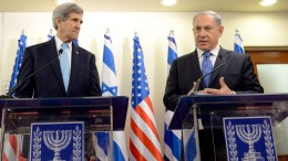 A handout photo made available by the Israeli Government press office shows United States Secretary of State John Kerry and Israeli Prime Minister Benjamin Netanyahu. EPA/Haim Zach israel out.