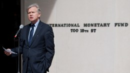 International Monetary Fund (IMF) Director of External Relations Gerry Rice makes a statement to the press at IMF Headquarters, Washington, DC. Photo via IMF