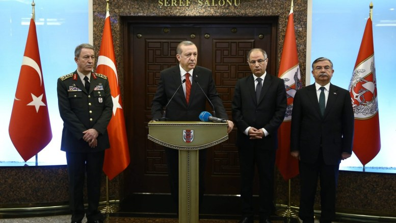 A handout picture provided by Turkish President Press office shows Turkish President Recep Tayyip Erdogan (2-L), meets with Chief of the General Staff of the Turkish Armed Forces, Hulusi Akar (L), Turkish Interior Minister Efkan Ala and Turkish Defense Minister Ismet Yilmaz. EPA, PRESIDENT PRESS OFFICE