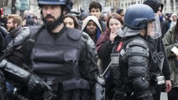 FILE PHOTO: French riot police stand guard during a students demonstration against the government's controversial labor reform in Paris, France, 24 March 2016. EPA, ETIENNE LAURENT