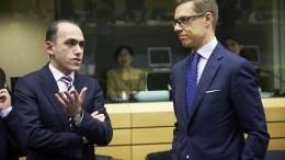 FILE PHOTO. Ο Υπουργός Οικονομικών Χάρης Γεωργιάδης στο Eurogroup με τον Φινλανδό ομόλογό του.  Φωτογραφία ΓΤΠ