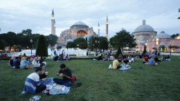 FILE PHOTO: People wait to break their fast on the first day of Ramadan in front of Hagia Sophia in Fatih Istanbul, Turkey. EPA, CEM TURKEL