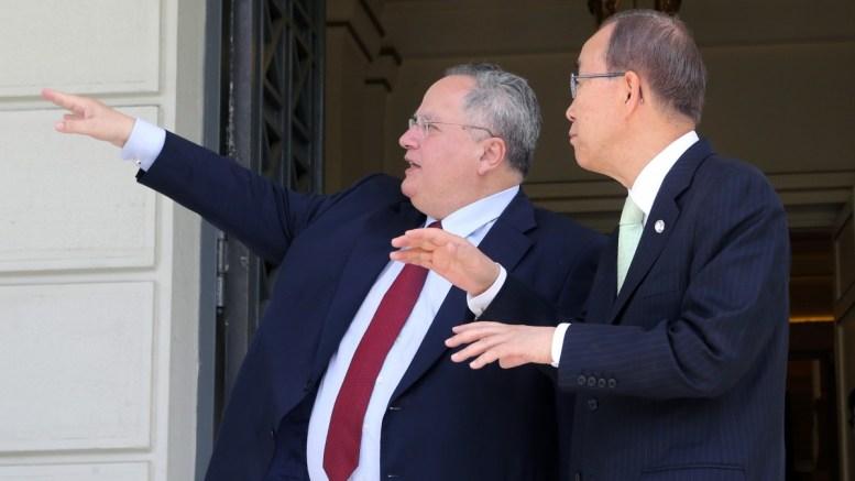 File PHOTO: Ο υπουργός Εξωτερικών Νίκος Κοτζιας με τον Γενικό Γραμματέα του ΟΗΕ Μπαν Κι - μουν (Ban Ki-moon) , Σάββατο 18 Ιουνίου 2016. ΑΠΕ-ΜΠΕ, Παντελής Σαίτας