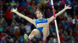 Ekaterini Stefanidi from Greece competes in the women's pole vault final during the European Athletics Championships in the Letzigrund Stadium in Zurich, Switzerland.  EPA, JEAN-CHRISTOPHE BOTT