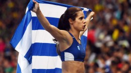 Ekaterini Stefanidi of Greece celebrates after winning the women's Pole Vault final of the Rio 2016 Olympic Games Athletics, Track and Field events at the Olympic Stadium in Rio de Janeiro, Brazil, 19 August 2016.  EPA/LUKAS COCH AUSTRALIA AND NEW ZEALAND OUT