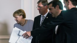 (L-R) German Chancellor Angela Merkel, Slovenian Prime Minister Miro Cerar and Greek Prime Minister Alexis Tsipras arrive for a group photo call during the Summit 'Migration along the Balkan route' in Vienna, Austria, 24 September 2016. Austrian Chancellor Christian Kern invited Heads of Government of Albania, Bulgaria, Germany, Greece, Croatia, FYROM (Former Yugoslav Republic of Macedonia), Serbia, Slovenia, Hungary, the President of the European Council, the European Commissioner for Migration and Interior Minister of Romania to discus a common strategy for the migrants situation along the Balkan route. EPA, CHRISTIAN BRUNA