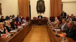 Ο πρόεδρος της Βουλής Νίκος  Βούτσης (K)  προεδρεύει στη Διάσκεψη των Προέδρων της Βουλής για τη συγκρότηση του Εθνικού Συμβουλίου Ραδιοτηλεόρασης (ΕΣΡ), τη Δευτέρα 31 Οκτωβρίου 2016. ΑΠΕ-ΜΠΕ/Αλέξανδρος Μπελτές