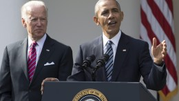 US President Barack Obama (R) delivers remarks on the victory of President-elect Republican Donald Trump in the 2016 election, beside US Vice President Joe Biden (L), in the Rose Garden of the White House in Washington, DC, USA, 09 November 2016. Obama encouraged Americans to unite and work for change despite Trump's victory. EPA, MICHAEL REYNOLDS