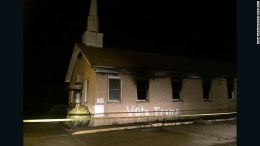 Vandals set Hopewell Baptist Church in Greenville, Mississippi, on fire Tuesday night, police say. Photo Delta Daily News Angie Guezada