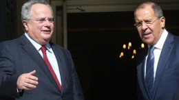 File Photo: Ο υπουργός Εξωτερικών Νίκος Κοτζιάς με τον υπουργό Εξωτερικών της Ρωσίας Σεργκέι Λαβρόφ στη συνάντησή τους στο υπουργείο Εξωτερικών, Αθήνα, Τετάρτη 2 Νοεμβρίου 2016. ΑΠΕ-ΜΠΕ, ΟΡΕΣΤΗΣ ΠΑΝΑΓΙΩΤΟΥ