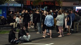 FILE PHOTO. People evacuated from buildings along Dixon Street, Wellington after an earthquake based around Cheviot in the South island shock the capital, New Zealand. EPA, ROSS SETFORD