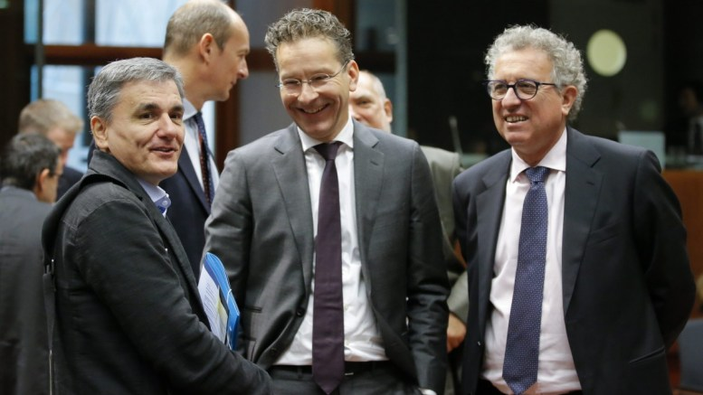 Greek Finance Minister Euclid Tsakalotos, Eurogroup President and Dutch Finance Minister Jeroen Dijsselbloem, and Luxembourg's Finance Minister Pierre Gramegna during a European finance ministers meeting in Brussels, Belgium. EPA, OLIVIER HOSLET