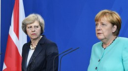 FILE PHOTO. Britain's Prime Minister Theresa May and German chancellor Angela Merkel. EPA/SOEREN STACHE