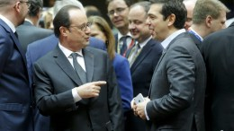 File PHOTO: French President Francois Hollande (L) and Greek Prime Minister Alexis Tsipras (R) chat during an European Summit in Brussels, Belgium, 15 December 2016. EPA, OLIVIER HOSLET