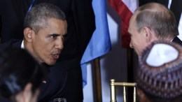 A file pictrure dated 28 September 2015 shows US President Barack Obama (L) with Russian President Vladimir Putin (R) at the start of a luncheon for world leaders during the 70th session of the United Nations General Assembly at United Nations headquarters in New York, New York, USA. EPA, JUSTIN LANE