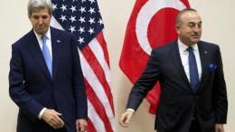 FILE PHOTO. U.S. Secretary of State John Kerry (L) and Turkish Foreign. Minister Mevlut Cavusoglu (R). EPA, VIRGINIA MAYO, POOL
