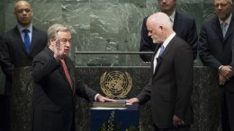 File Photo: António Guterres, Secretary-General of the United Nations, takes the oath of office for his five-year term which begins on 1 January 2017. The oath was administered by Peter Thomson, President of the seventy-first session of the General Assembly, on the Charter of the United Nations. UN Photo, Manuel Elias
