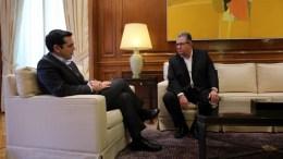 Ο πρωθυπουργός Αλέξης Τσίπρας (Α) με τον ΓΓ της ΚΕ του ΚΚΕ Δημήτρη Κουτσούμπα (Δ) στο Μέγαρο Μαξίμου. Θα μιλήσουν αύριο για τον Μπελογιάννη. ΑΠΕ-ΜΠΕ, ΑΛΕΞΑΝΔΡΟΣ ΒΛΑΧΟΣ