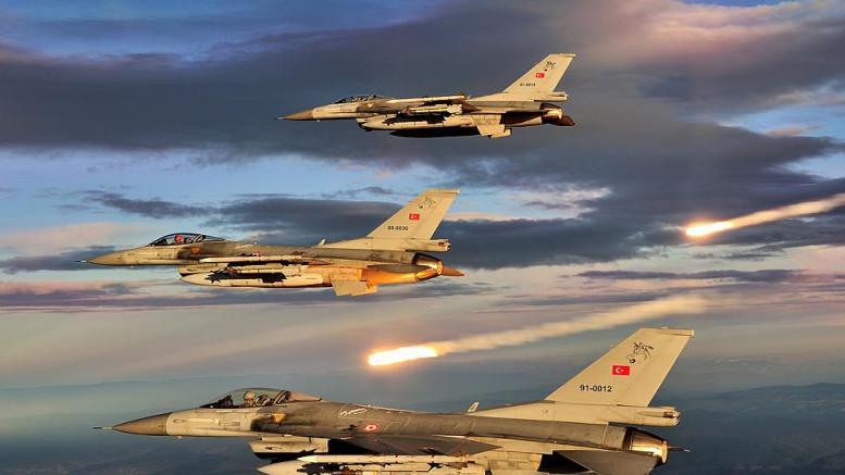 Αεροπλάνα της τουρκικής πολεμικής αεροπορίας στη διάρκεια άσκησης. Φωτογραφία τουρκική Πολεμική Αεροπορία