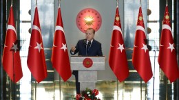 A handout photo made available by Turkish President Press office shows Turkish President Recep Tayyip Erdogan speaking during dinner for foreign ambassadors in Ankara, Turkey, 09 January 2017. EPA, RKISH PRESIDENT PRESS OFFICE HANDOUT EDITORIAL USE ONLY