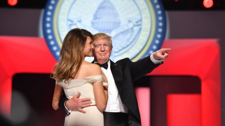 US President Donald J. Trump (C) and First Lady Melania Trump (C-L) dance at the Freedom Ball in Washington, DC, USA, 20 January 2017. EPA, KEVIN DIETSCH / POOL