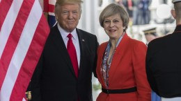US President Donald J. Trump greets British Prime Minister Theresa May. FILE PHOTO. EPA/Olivier Douliery / POOL