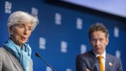 Christine LAGARDE, Managing Director of the IMF, Jeroen DIJSSELBLOEM, President of the Eurogroup (right). Copyright-Credit 'The European Union'