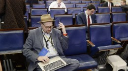 Glenn Thrush, chief White House political correspondent for the The New York Times (L) sits in the press briefing room of the White House in Washington, DC, USA. EPA, OLIVIER DOULIERY/ POOL