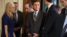 File Photo: Former National Security Advisor Michael Flynn (C) flanked by Kellyanne Conway (L) and Jared Kushner (R) attends a press conference with US President Donald J. Trump and Canadian Prime Minister Justin Trudeau in the East Room of the White House in Washington, DC, USA. EPA, JIM LO SCALZO