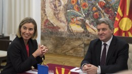 Federica Mogherini (L), the High Representative of the European Union for Foreign Affairs and Security Policy talks with FYROM President George Ivanov (R) during her visit to Skopje, The Former Yugoslav Republic of Macedonia, 02 March 2017. Mogherini is visiting FYROM during her Western Balkan tour. EPA, GEORGI LICOVSKI
