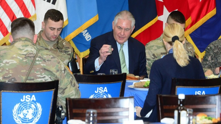 US Secretary of State Rex Tillerson (C) meets with South Korean and US servicemen during his visit to Panmunjom, the truce village near the inter-Korean border, South Korea. EPA, YONHAP / POOL SOUTH KOREA OUT