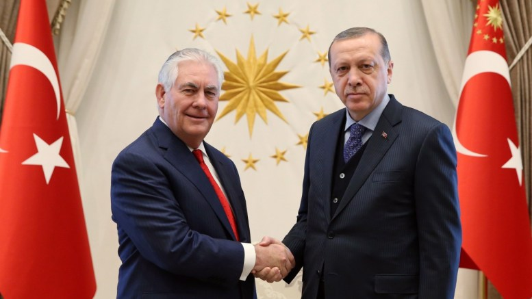 File Photo: US Secretary of State Rex Tillerson (L) shakes hands with Turkish President Recep Tayyip Erdogan (R) during their meeting in Ankara, Turkey. EPA, TURKISH PRESIDENT PRESS OFFICE HANDOUT EDITORIAL USE ONLY
