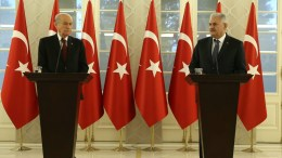 FILE PHOTO: Turkish Prime Minister Binali Yildirim (R) with Devlet Bahceli (L), leader of the oppositional Nationalist Movement Party (MHP), during a joint news conference following their meeting in Ankara, Turkey, 01 December 2016. The two leaders meet to discuss the draft constitutional amendment, including an executive presidential system and they announced that they agreed on the new presidential system on 01 December 2016, local media reported. EPA, TURKISH PRIME MINISTER PRESS OFFICE, HANDOUT EDITORIAL USE ONLY