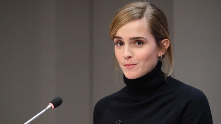 UN Women's Goodwill Ambassador, British actress Emma Watson speaks at a press conference to launch the HeForShe IMPACT 10x10x10 University Parity Report during the General Debate of the 71st Session of the United Nations General Assembly at UN headquarters in New York, New York, USA, 20 September 2016.  EPA/ANDREW GOMBERT