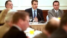Ο πρόεδρος της Νέας Δημοκρατίας Κυριάκος Μητσοτάκης συναντήθηκε με τους πρέσβεις των χωρών - μελών της Ευρωπαϊκής Ένωσης, την Τρίτη 7 Μαρτίου 2017, με αντικείμενο τα ζητήματα ασφάλειας και εξωτερικής πολιτικής με τις αναδυόμενες προκλήσεις σε Αιγαίο και Βαλκάνια. ΑΠΕ-ΜΠΕ/ΓΡΑΦΕΙΟ ΤΥΠΟΥ ΝΔ/ΔΗΜΗΤΡΗΣ ΠΑΠΑΜΗΤΣΟΣ